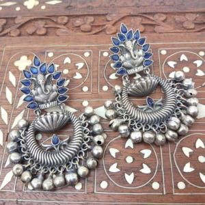 Royal Blue Oxidised Ganesh Earrings for Kurti