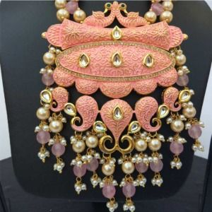 Salmon Pink Color Necklace Set for Lehenga