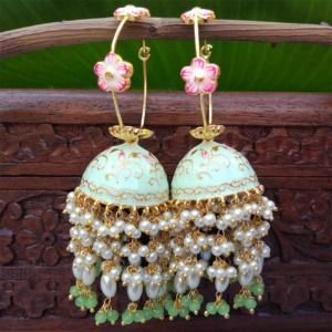 Sea Green Meenakari Pearl Jhumka Earrings for Wedding