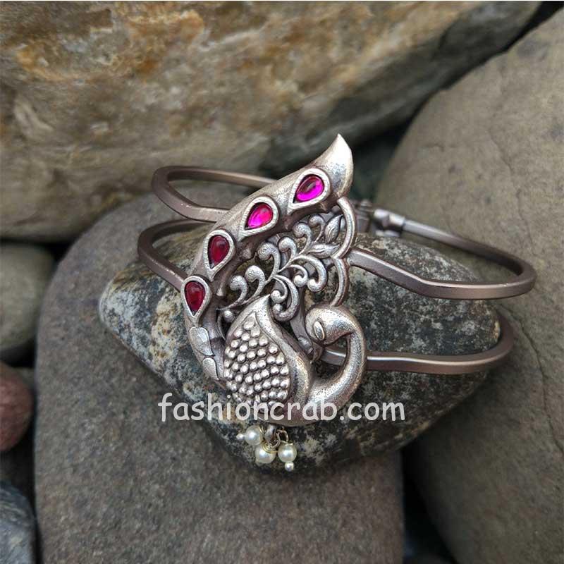 Silver Look Alike Adjustable Peacock Bracelet