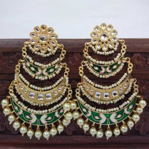 Three Layer Dark Green Meenakari Kundan Chandbali Earring
