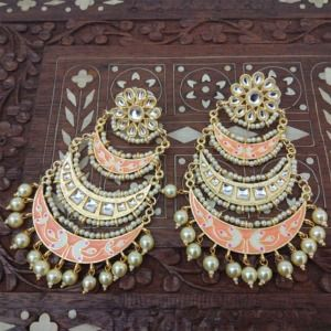 Three Layer Peach Meenakari Kundan Chandbali Earring