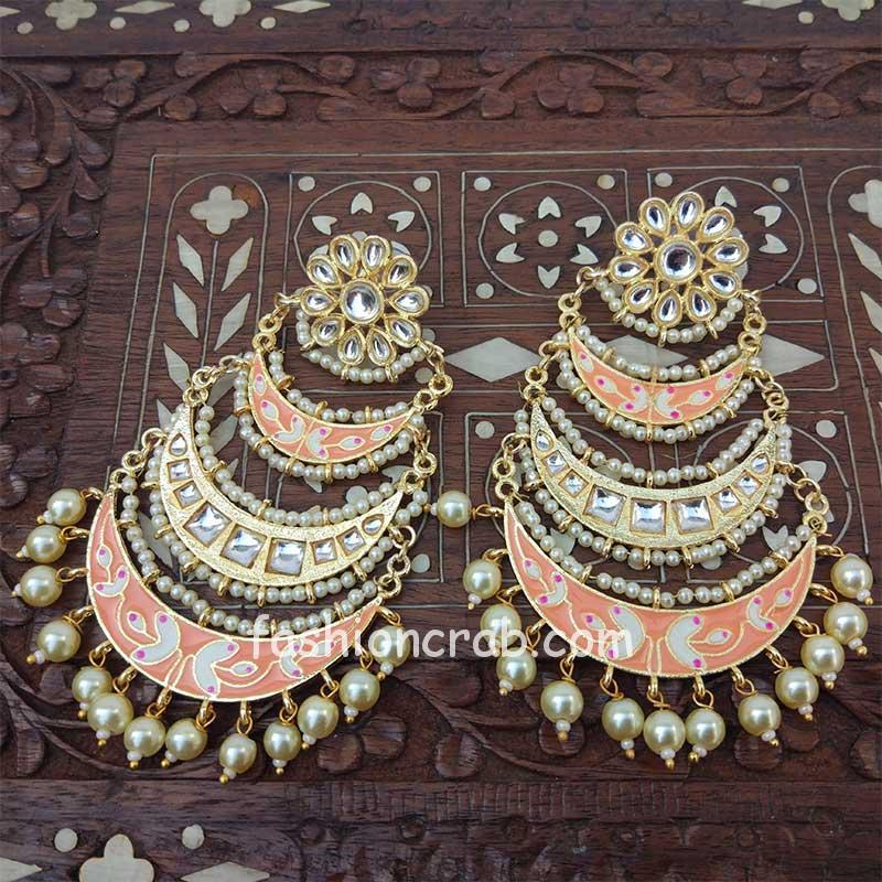 Three Layer Peach Meenakari Kundan Chandbali Earring