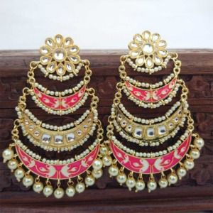 Three Layer Pink Meenakari Kundan Chandbali Earring
