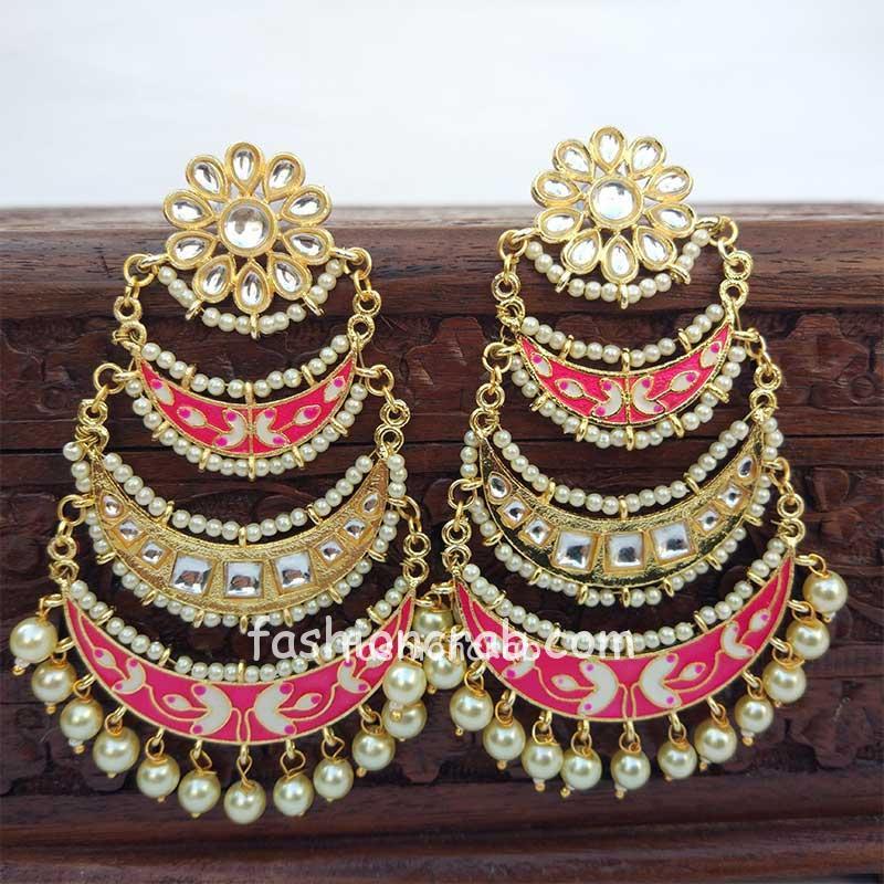 Three Layer Pink Meenakari Kundan Chandbali Earring