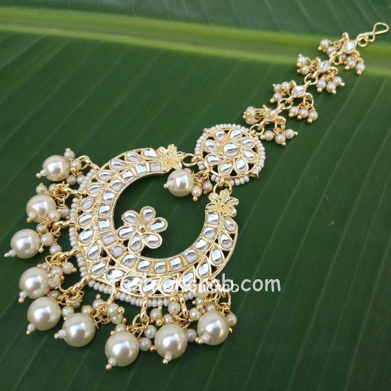 Traditional Handcrafted Gold Toned Kundan Pearl Drop Maangtikka