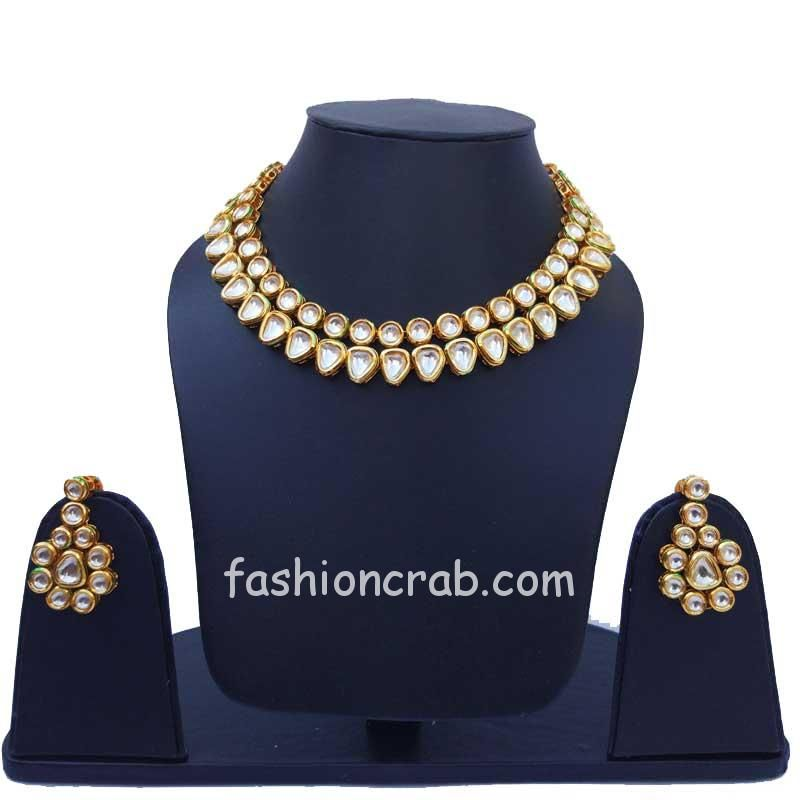 Two Layer Kundan Necklace Set for Bride
