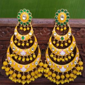 Yellow Chandbali Earrings with Pearls