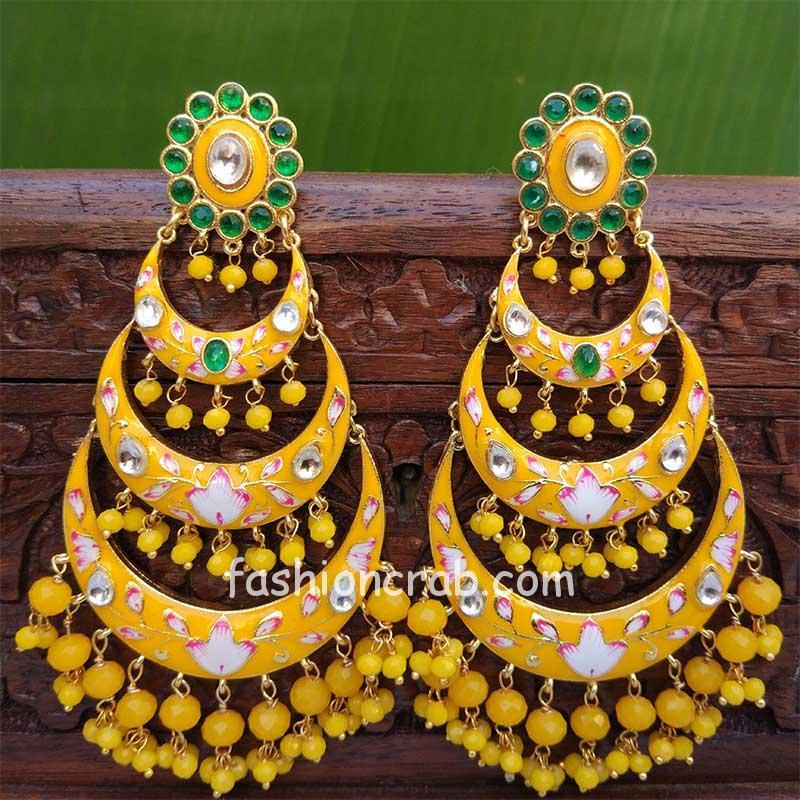 Yellow Chandbali Earrings with Pearls