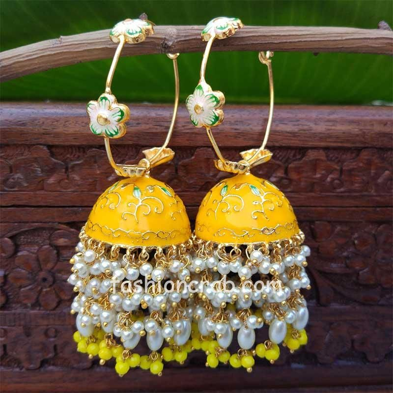 Yellow Meenakari Pearl Jhumka Earrings for Wedding