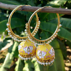 Yellow Meenakari Indian Jhumka Earring with Bali