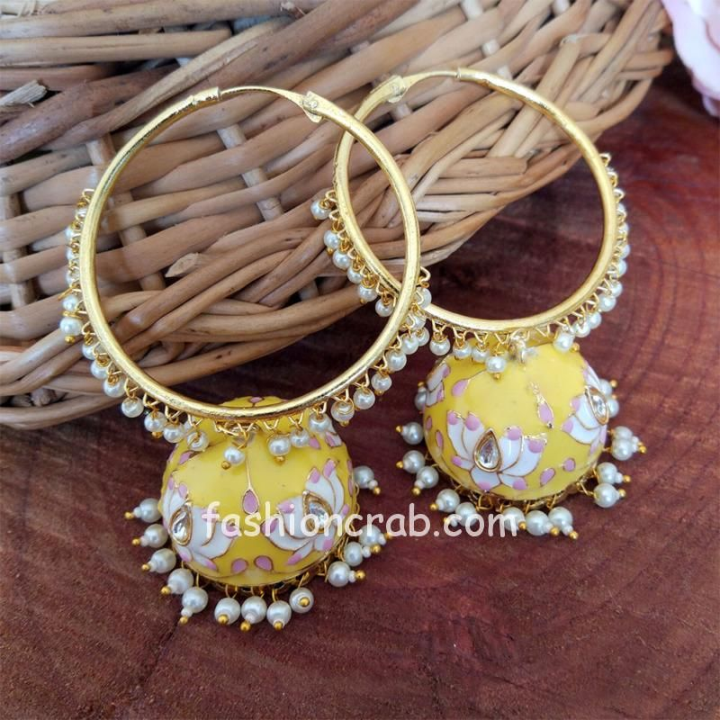 Yellow Meenakari Indian Jhumka Earring with Bali