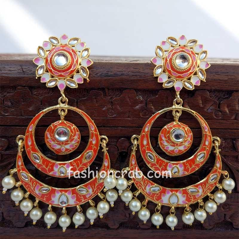 Orange Meenakari Chandbali Earring for Women-01