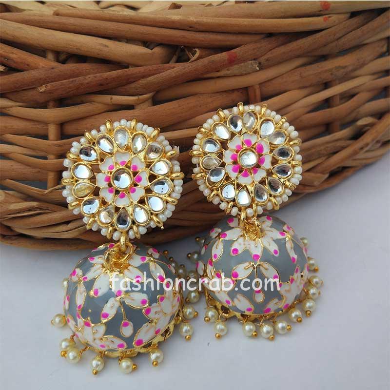 Bollywood Style Meenakari Grey Jhumka Earring