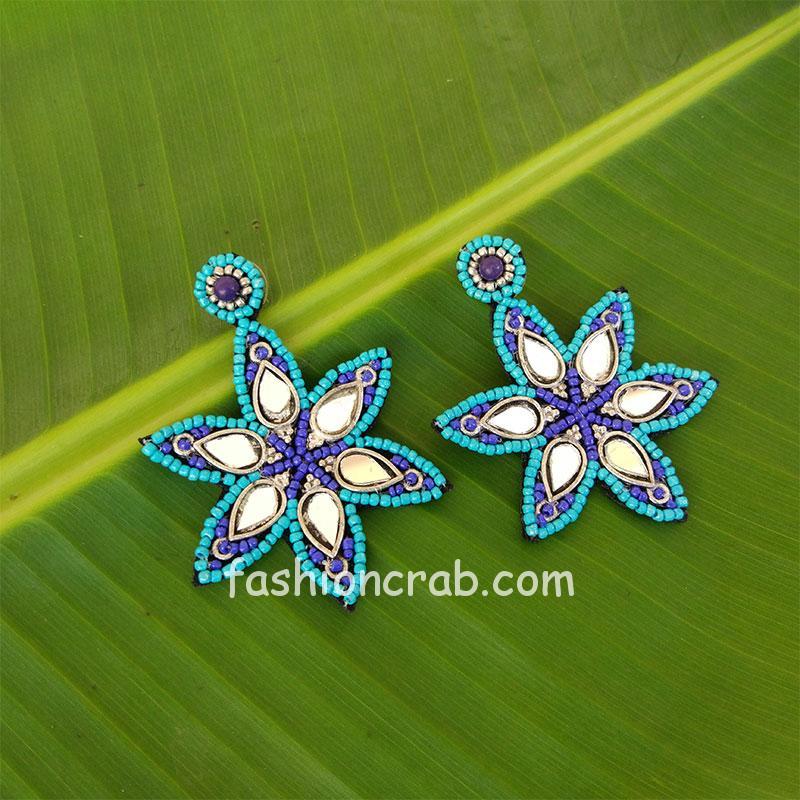 Blue Beads Mirror Work Earrings