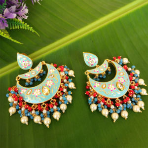 Blue Enamel Chandbali Layered Pearl Earrings