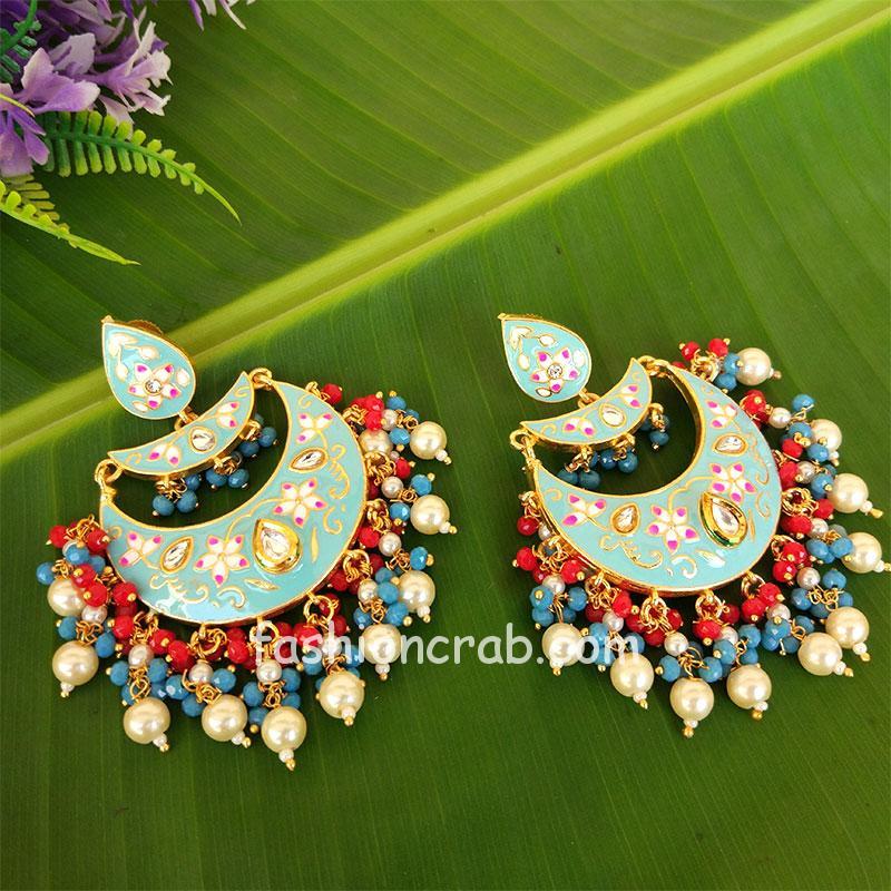 Blue Enamel Chandbali Layered Pearl Earrings