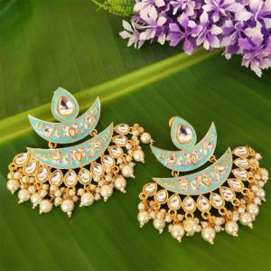Blue Meena Pearl Embellished Handcrafted Chandbali