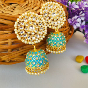Blue Traditional Jhumka Earring for Wedding