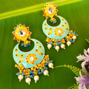 Blue Traditional Meenakari Earring for Saree