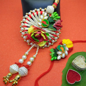 Colorful Gota Patti Lumba Rakhi Set
