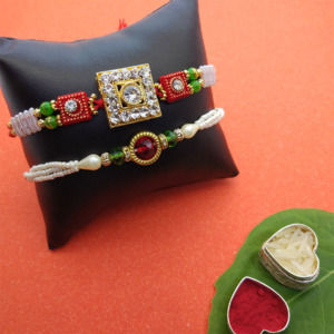 Crystal Designer Rakhi Set of 2