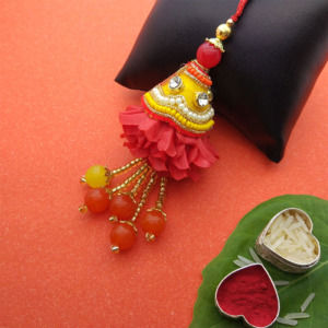 Fancy Orange Pearl Lumba Rakhi