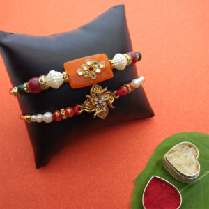 Fancy Pearl Rakhi Set of 2