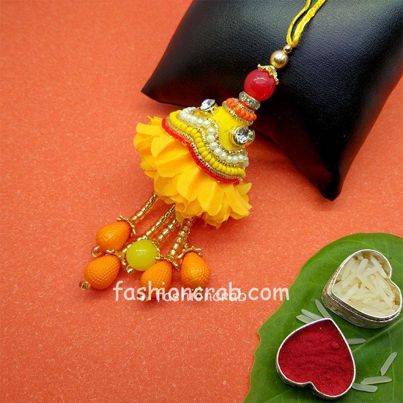Fancy Yellow Pearl Lumba Rakhi