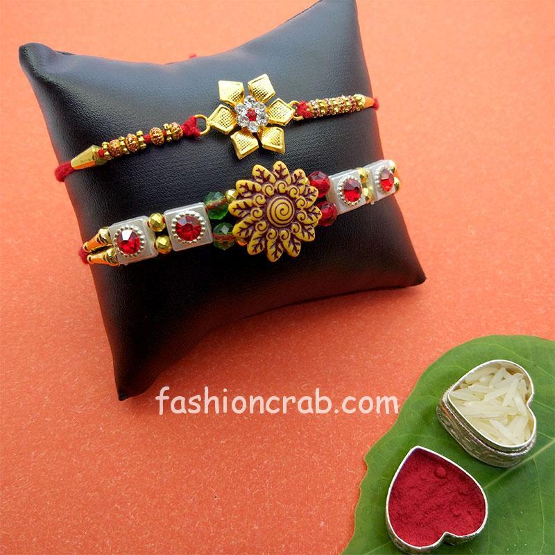 Floral Designer Rakhi Set of 2