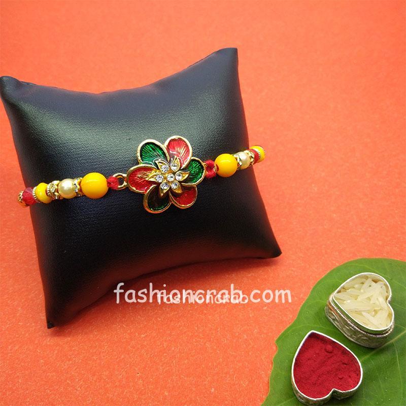 Flower Embellised Designer Rakhi