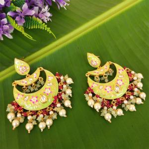 Green Enamel Chandbali Layered Pearl Earrings