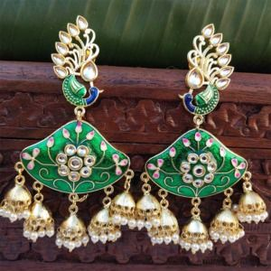Green Enamel Pearl Jhumka Chandbali Earrings