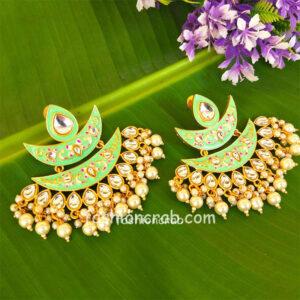 Green Meena Pearl Embellished Handcrafted Chandbali