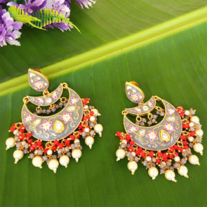 Grey Enamel Chandbali Layered Pearl Earrings