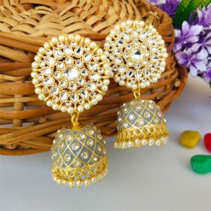 Grey Traditional Jhumka Earring for Wedding