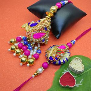 Handmade Designer Lumba Rakhi Set for Bhai Bhabhi