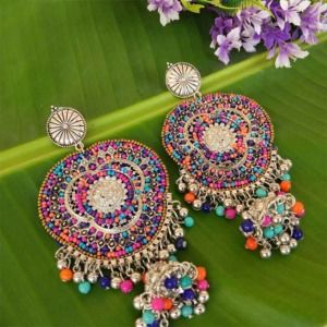 Multicolor Big Indian Oxidized Silver Earring