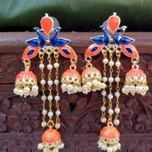 Orange Color Multi Jhumki Peacock Earring