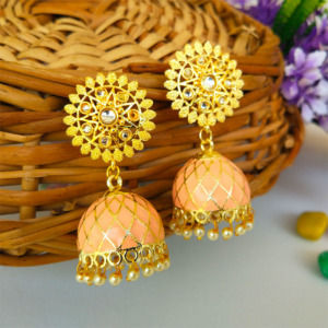 Orange Ethnic Jhumka Earring