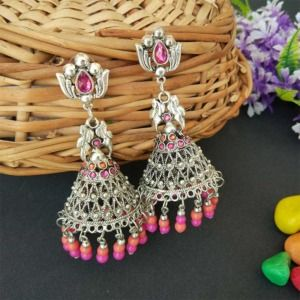 Oxidised Silver Toned Pink Orange Jhumka