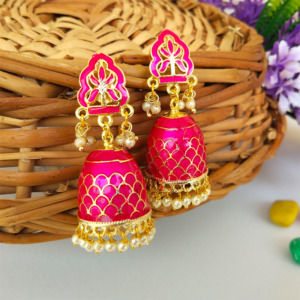 Pink Colour Handcrafted Meenakari Earrings