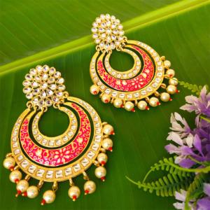Pink Enamel Kundan Studded Pearl Embellished Chandbali