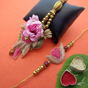 Pink Flower Lumba Rakhi Set