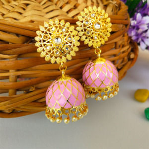Pink Lavender Ethnic Jhumka Earring