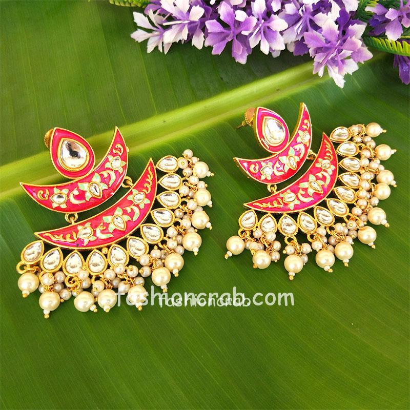 Pink Meena Pearl Embellished Handcrafted Chandbali
