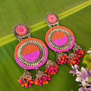 Pink Orange Oxidized Silver Toned Chandbali