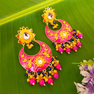 Pink Traditional Meenakari Earring for Saree