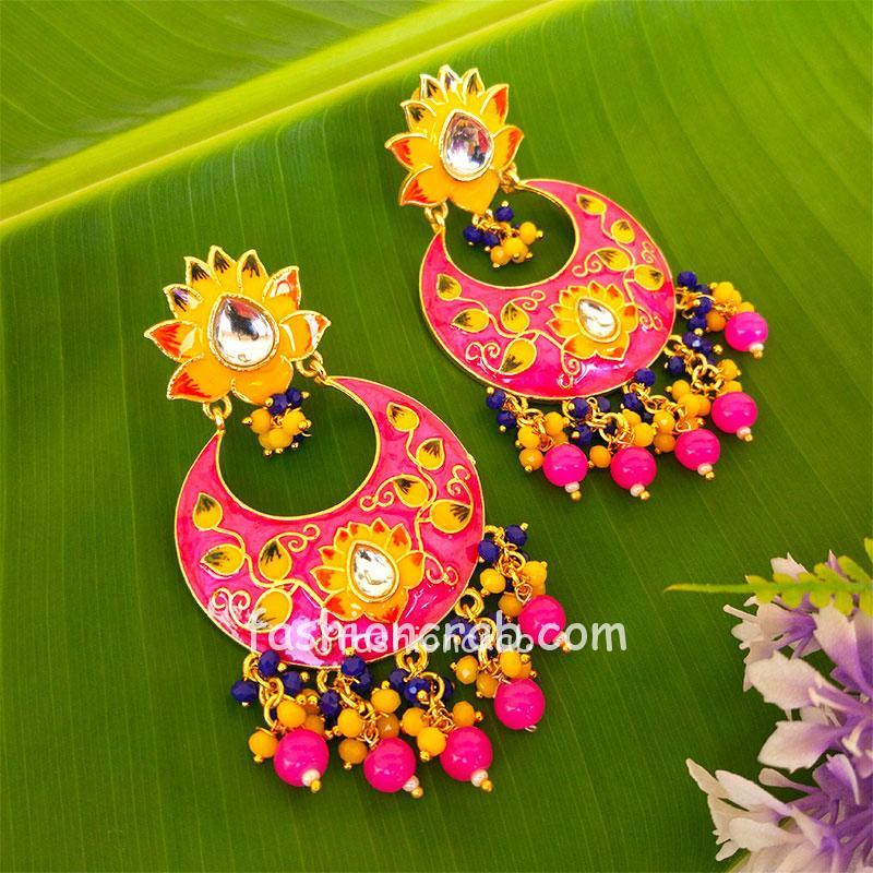 Pink Traditional Meenakari Earring for Saree