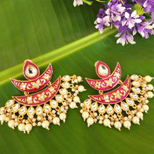 Purple Meena Pearl Embellished Handcrafted Chandbali